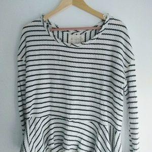 We the Free Black and White Striped Thermal Top